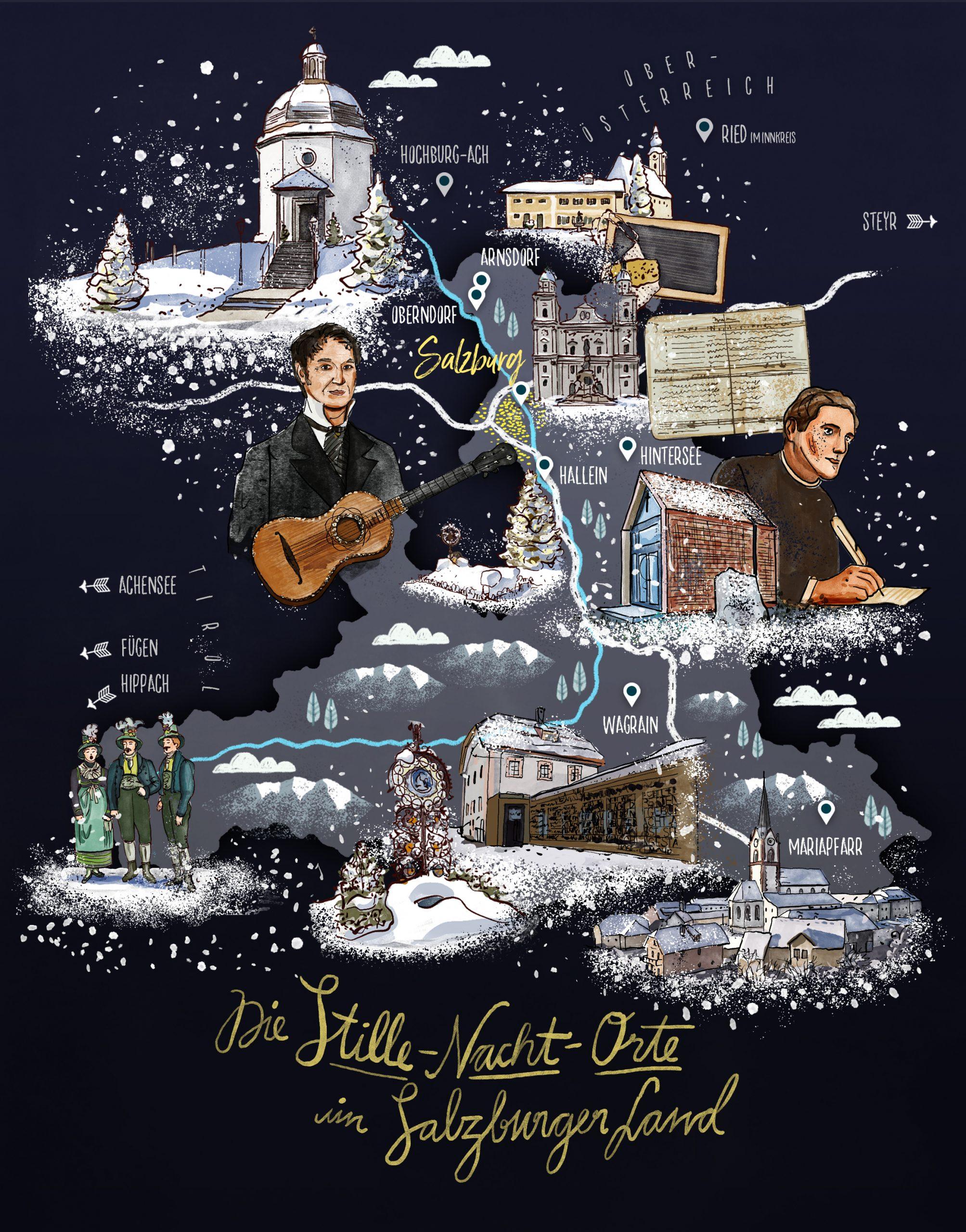 Illustration: Stille Nacht im SalzburgerLand